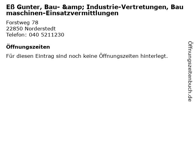 Eß Gunter, Bau- & Industrie-Vertretungen, Baumaschinen-Einsatzvermittlungen in Norderstedt: Adresse und Öffnungszeiten