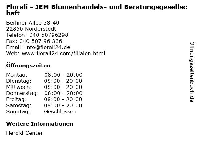 Florali - JEM Blumenhandels- und Beratungsgesellschaft in Norderstedt: Adresse und Öffnungszeiten