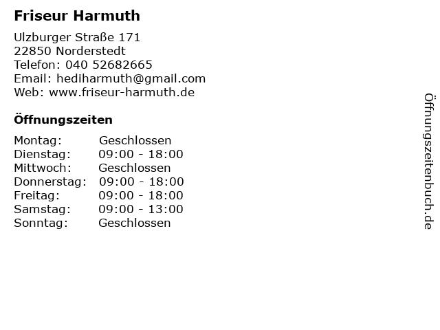 Friseur Harmuth Norderstedt in Norderstedt: Adresse und Öffnungszeiten