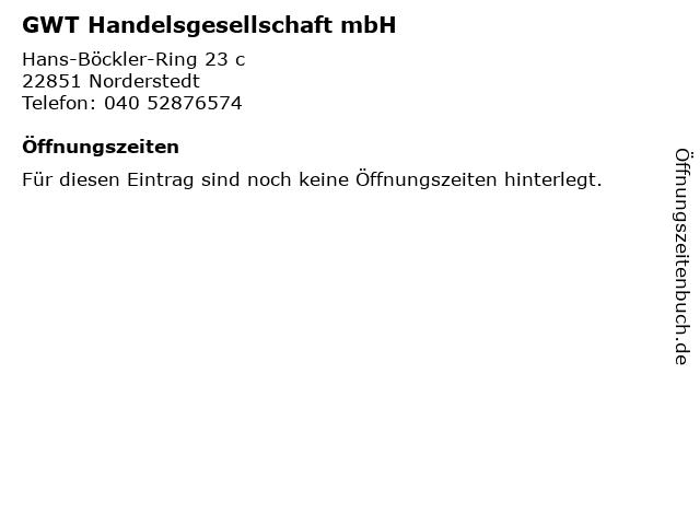 GWT Handelsgesellschaft mbH in Norderstedt: Adresse und Öffnungszeiten