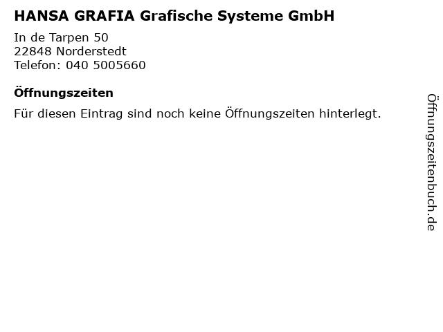 HANSA GRAFIA Grafische Systeme GmbH in Norderstedt: Adresse und Öffnungszeiten