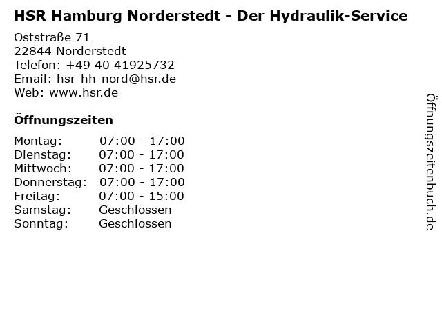 HSR Der Hydraulik-Service in Norderstedt: Adresse und Öffnungszeiten