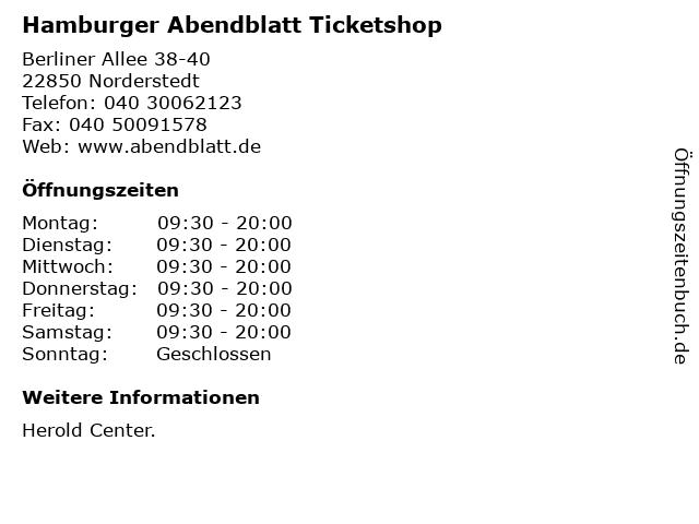 Hamburger Abendblatt Ticketshop in Norderstedt: Adresse und Öffnungszeiten