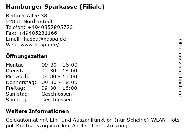 Haspa Hamburger Sparkasse AG in Norderstedt: Adresse und Öffnungszeiten