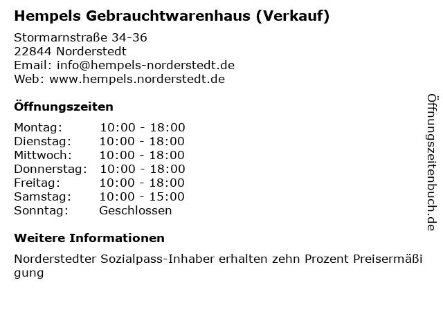 Hempels Gebrauchtwarenhaus (Verkauf) in Norderstedt: Adresse und Öffnungszeiten