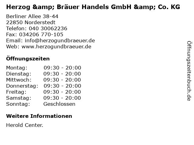 Herzog & Bräuer Handels GmbH & Co. KG in Norderstedt: Adresse und Öffnungszeiten
