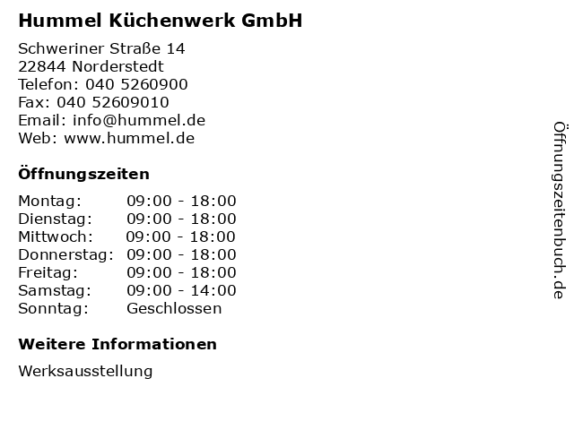 ᐅ Offnungszeiten Hummel Kuchenwerk Gmbh Schweriner