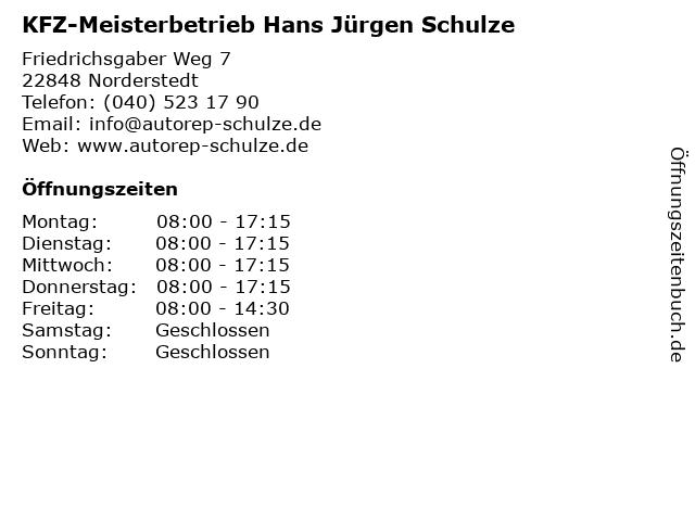 KFZ-Meisterbetrieb Hans Jürgen Schulze in Norderstedt: Adresse und Öffnungszeiten