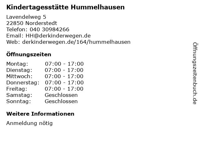 Kindertagesstätte Hummelhausen in Norderstedt: Adresse und Öffnungszeiten