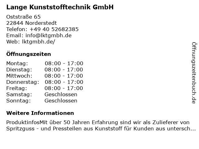 Lange Kunststofftechnik GmbH in Norderstedt: Adresse und Öffnungszeiten