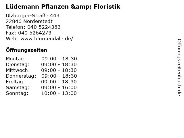 Lüdemann Pflanzen & Floristik in Norderstedt: Adresse und Öffnungszeiten