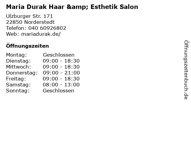 Maria Durak Haar & Esthetik Salon in Norderstedt: Adresse und Öffnungszeiten