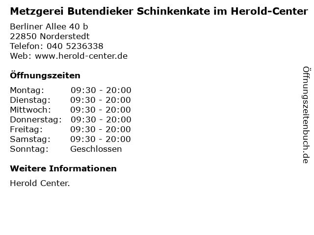 Metzgerei Butendieker Schinkenkate im Herold-Center in Norderstedt: Adresse und Öffnungszeiten