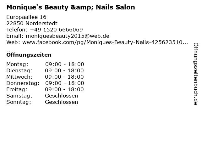 Monique's Beauty & Nails Salon in Norderstedt: Adresse und Öffnungszeiten
