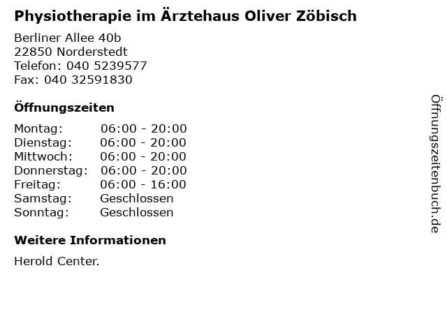 Physiotherapie im Ärztehaus Oliver Zöbisch in Norderstedt: Adresse und Öffnungszeiten