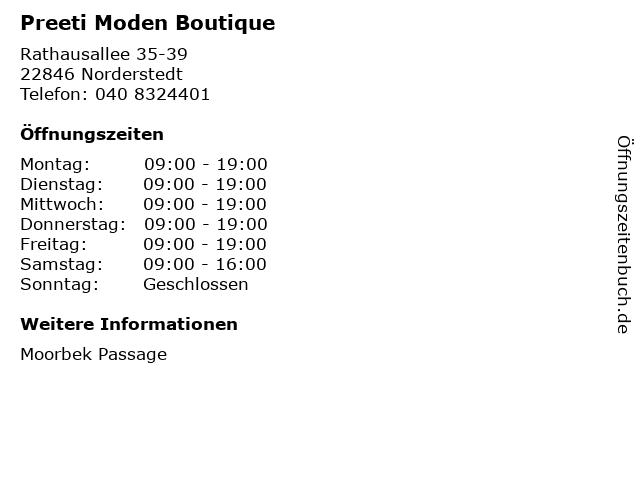 Preeti Moden Boutique in Norderstedt: Adresse und Öffnungszeiten
