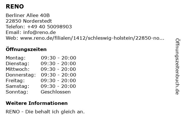 RENO in Norderstedt: Adresse und Öffnungszeiten