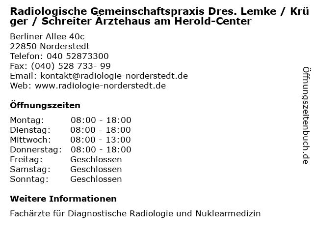 Radiologische Gemeinschaftspraxis Dres. Lemke / Krüger / Schreiter Ärztehaus am Herold-Center in Norderstedt: Adresse und Öffnungszeiten