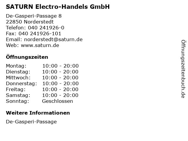 SATURN Electro-Handels GmbH in Norderstedt: Adresse und Öffnungszeiten
