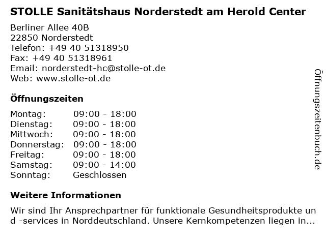STOLLE Sanitätshaus Norderstedt in Norderstedt: Adresse und Öffnungszeiten