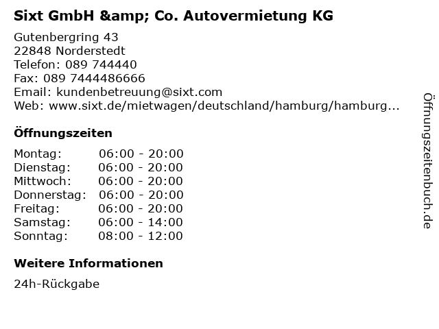 Sixt GmbH & Co. Autovermietung KG in Norderstedt: Adresse und Öffnungszeiten