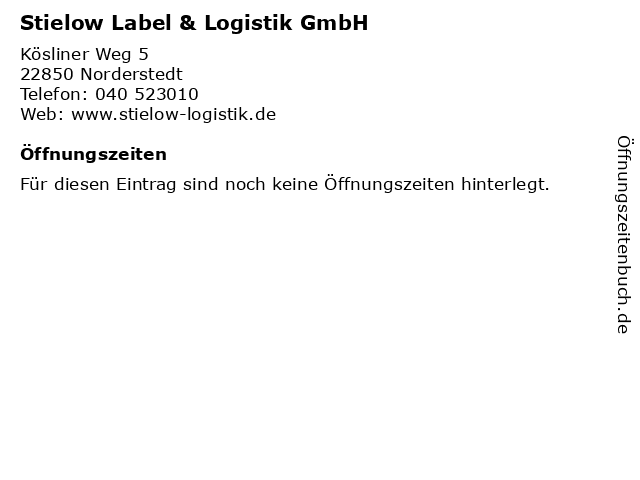 Stielow Label & Logistik GmbH in Norderstedt: Adresse und Öffnungszeiten