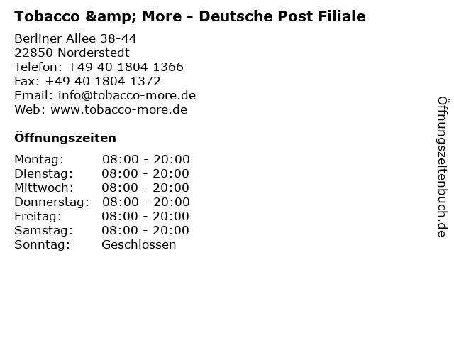 Tobacco & More - Deutsche Post Filiale in Norderstedt: Adresse und Öffnungszeiten