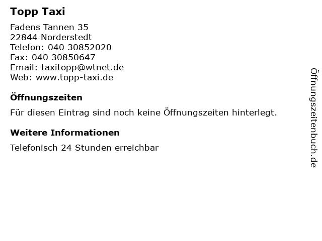 Topp Taxi in Norderstedt: Adresse und Öffnungszeiten