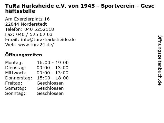 TuRa Harksheide e.V. von 1945 - Sportverein - Geschäftsstelle in Norderstedt: Adresse und Öffnungszeiten