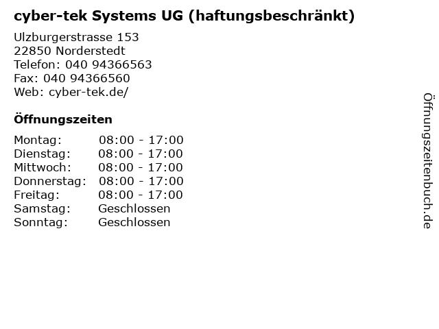 cyber-tek Systems UG (haftungsbeschränkt) in Norderstedt: Adresse und Öffnungszeiten