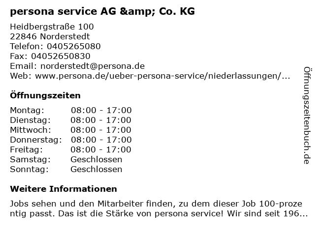 persona service AG & Co. KG in Norderstedt: Adresse und Öffnungszeiten