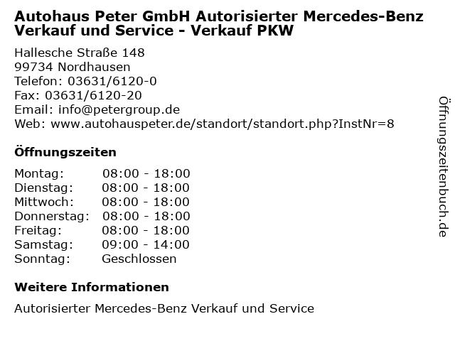 Autohaus Peter GmbH Autorisierter Mercedes-Benz Verkauf und Service - Verkauf PKW in Nordhausen: Adresse und Öffnungszeiten
