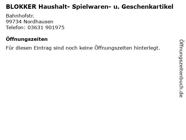 BLOKKER Haushalt- Spielwaren- u. Geschenkartikel in Nordhausen: Adresse und Öffnungszeiten