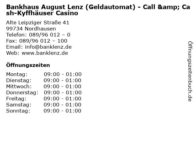 Bankhaus August Lenz (Geldautomat) - Call & Cash-Kyffhäuser Casino in Nordhausen: Adresse und Öffnungszeiten
