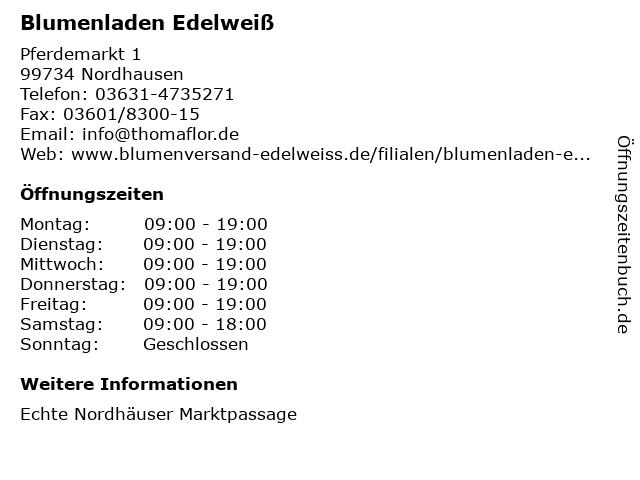 Edelweiß in Nordhausen: Adresse und Öffnungszeiten