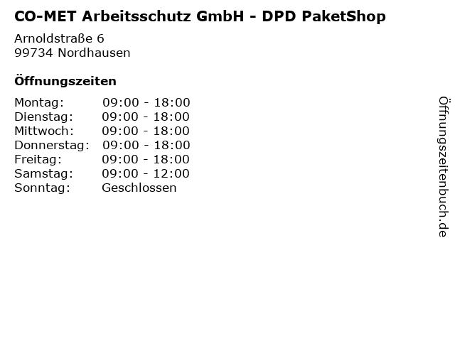 CO-MET Arbeitsschutz GmbH - DPD PaketShop in Nordhausen: Adresse und Öffnungszeiten