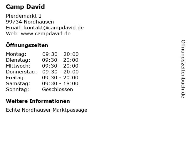 Camp David in Nordhausen: Adresse und Öffnungszeiten