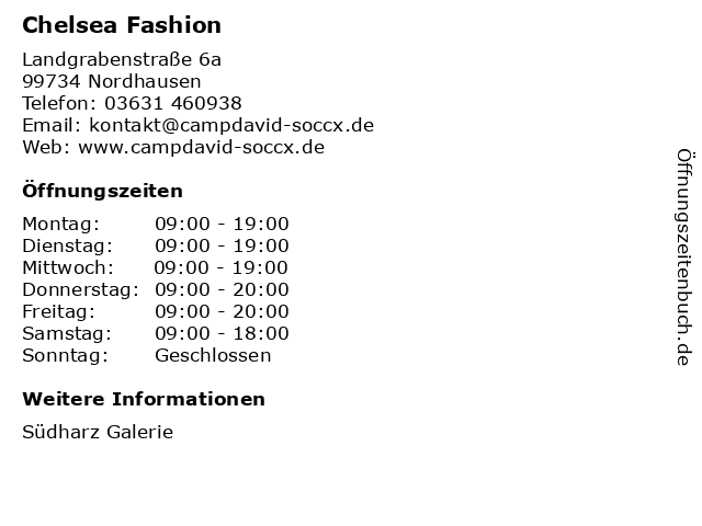 Chelsea Fashion in Nordhausen: Adresse und Öffnungszeiten
