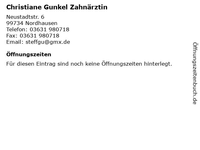 Christiane Gunkel Zahnärztin in Nordhausen: Adresse und Öffnungszeiten
