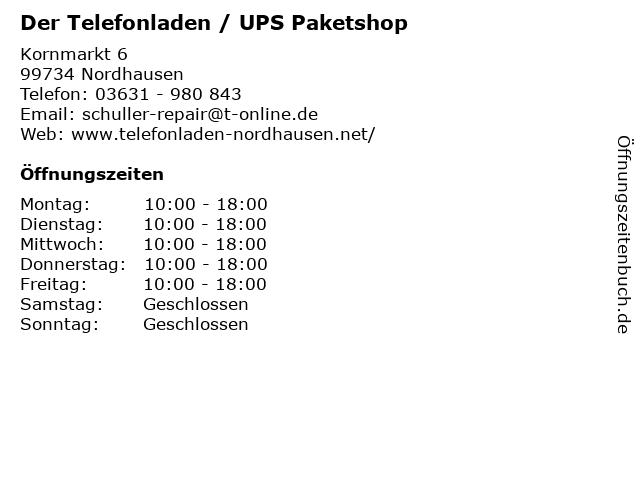 Der Telefonladen / UPS Paketshop in Nordhausen: Adresse und Öffnungszeiten