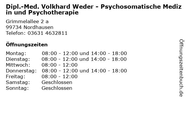 Dipl.-Med. Volkhard Weder - Psychosomatische Medizin und Psychotherapie in Nordhausen: Adresse und Öffnungszeiten