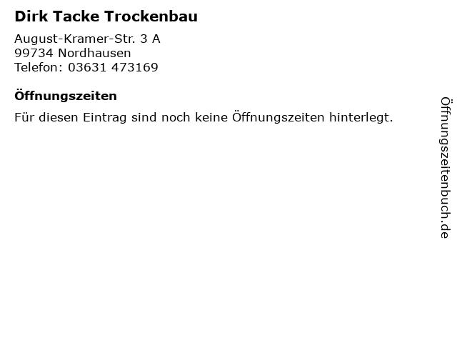 Dirk Tacke Trockenbau in Nordhausen: Adresse und Öffnungszeiten