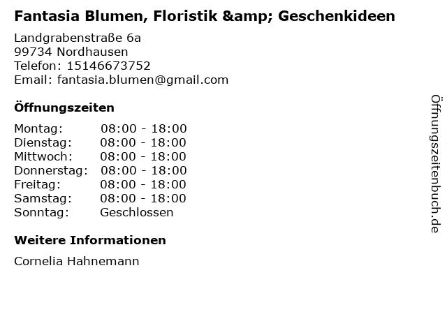 Fantasia Blumen, Floristik & Geschenkideen in Nordhausen: Adresse und Öffnungszeiten