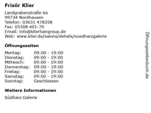 Frisör Klier GmbH in Nordhausen: Adresse und Öffnungszeiten