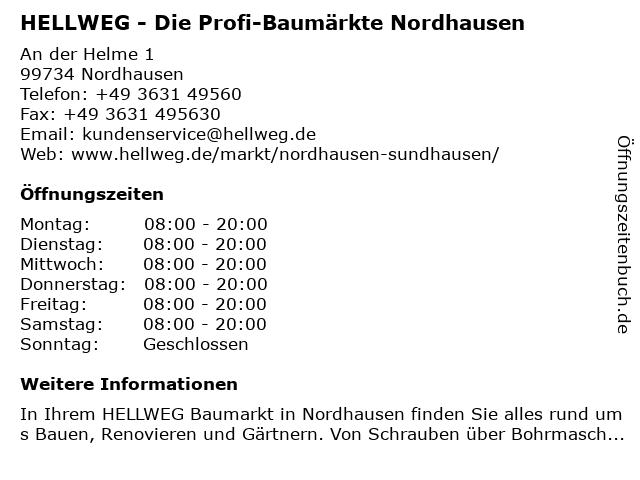 HELLWEG - Die Profi-Baumärkte Nordhausen-Sundhausen in Nordhausen: Adresse und Öffnungszeiten