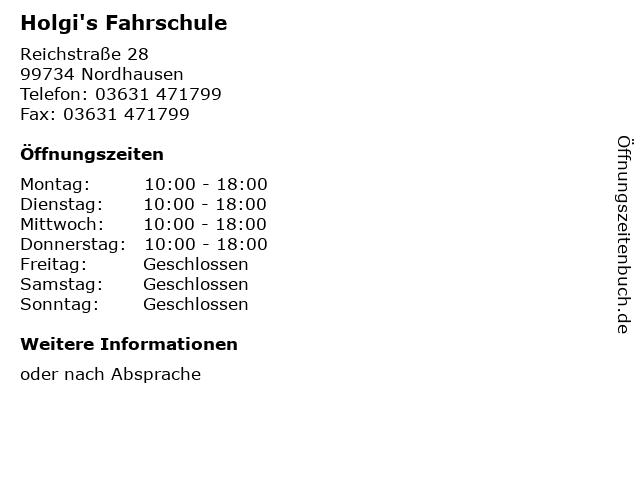 Holgi's Fahrschule in Nordhausen: Adresse und Öffnungszeiten