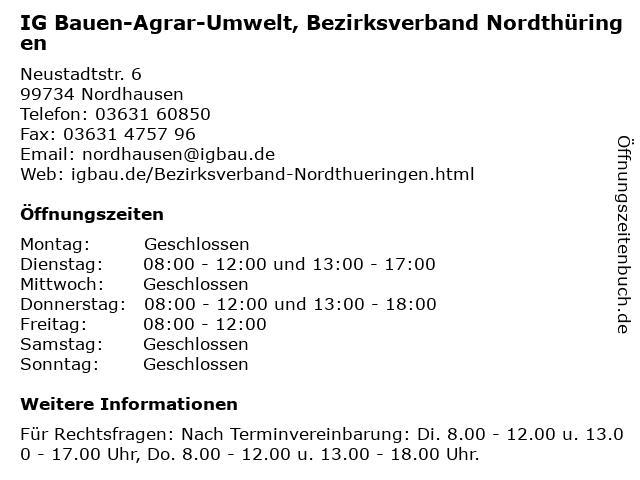 IG Bauen-Agrar-Umwelt, Bezirksverband Nordthüringen in Nordhausen: Adresse und Öffnungszeiten