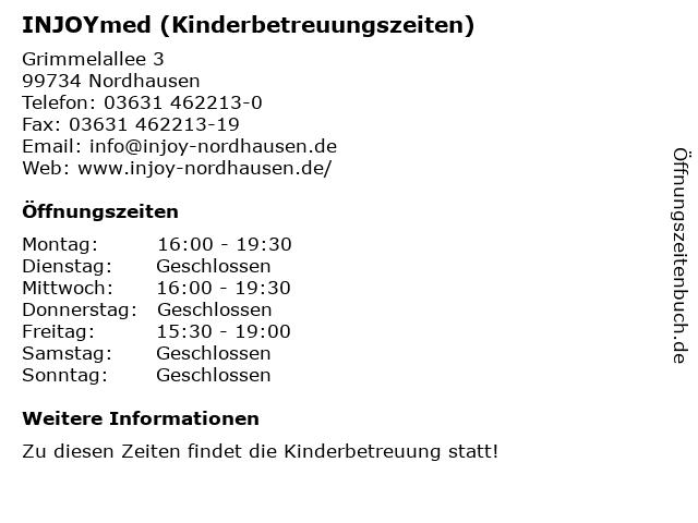 INJOYmed (Kinderbetreuungszeiten) in Nordhausen: Adresse und Öffnungszeiten