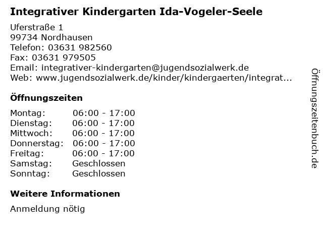 Integrativer Kindergarten Ida-Vogeler-Seele in Nordhausen: Adresse und Öffnungszeiten