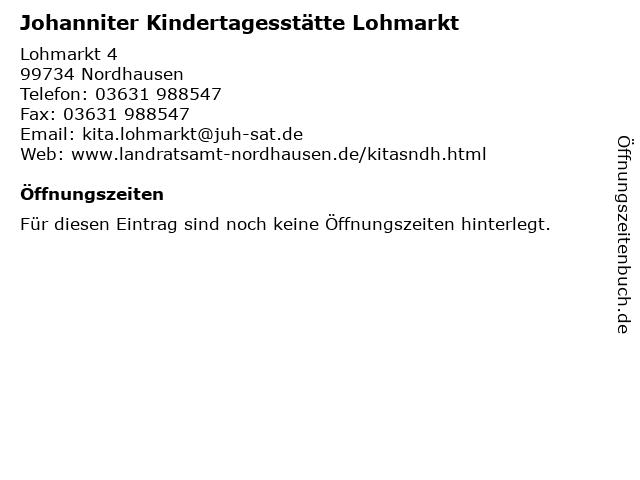 Johanniter Kindertagesstätte Lohmarkt in Nordhausen: Adresse und Öffnungszeiten
